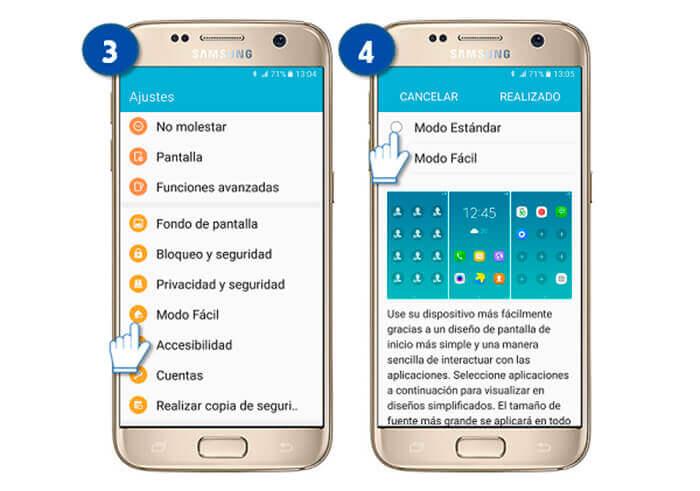 activar modo fácil en Samsung