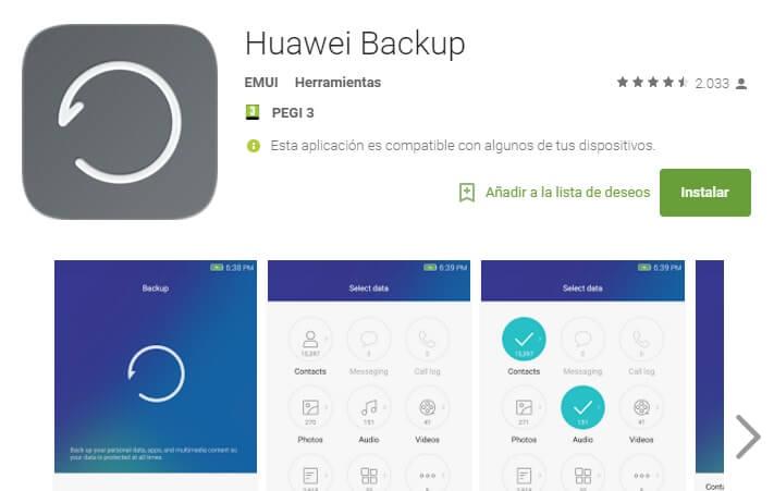 Copia de seguridad en Huawei
